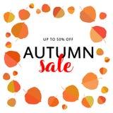秋天与秋叶的销售横幅在白色背景 免版税图库摄影