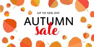 秋天与秋叶的销售横幅在白色背景 免版税库存图片