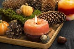 秋天与锥体,肉桂条,橡子,美洲黑杜鹃的蜡烛装饰 库存照片