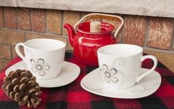 秋天两的茶设置 库存图片