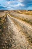 秋天乡下公路在托斯卡纳 免版税库存照片