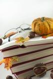 秋天书和玻璃02 库存照片
