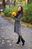 秋天五颜六色的女孩公园 免版税图库摄影