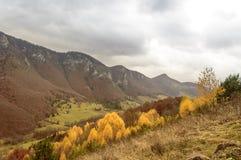 秋天五颜六色的横向山日出 库存图片