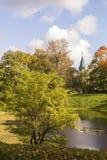 秋天亚历山大公园和废墟在Tsarskoye selo,圣徒宠物 库存图片
