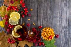 秋天健康饮料概念 茶用秋天莓果海鼠李、荚莲属的植物、玫瑰果、花揪和秋天叶子 饮料 库存照片