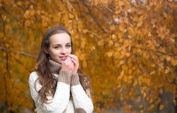 秋天公园俏丽的妇女年轻人 图库摄影