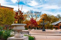 秋天公园场面在有喷泉的柳条公园芝加哥 免版税图库摄影