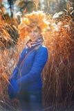 秋天公园的秀丽妇女 免版税库存照片