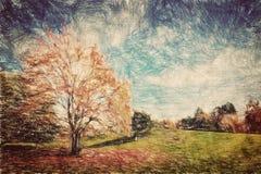 秋天公园 在红色叶子的青山 葡萄酒艺术 免版税图库摄影