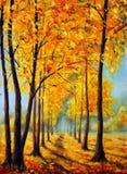 绘画秋天公园 秋天桦树叶子草甸橙树 秋天和谐 向量例证