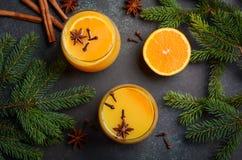 秋天冬天鸡尾酒热的辣橙色拳打用香料 免版税库存图片