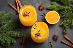 秋天冬天鸡尾酒热的辣橙色拳打用香料 库存照片