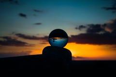 秋天前日落在玻璃的 免版税图库摄影
