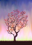秋天剪影结构树 库存例证