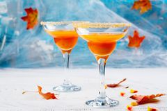 秋天南瓜与万圣夜装饰的马蒂尼鸡尾酒鸡尾酒 图库摄影
