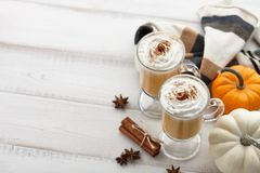 秋天南瓜与打好的奶油的香料拿铁在白色木背景 免版税库存图片