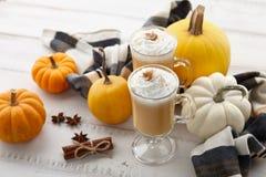 秋天南瓜与打好的奶油的香料拿铁在白色木背景 库存照片