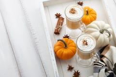 秋天南瓜与打好的奶油的香料拿铁在白色木背景 免版税图库摄影