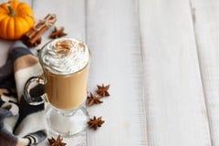 秋天南瓜与打好的奶油的香料拿铁在白色木背景 图库摄影