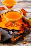 秋天南瓜与秋天的马蒂尼鸡尾酒鸡尾酒在木盘子离开 免版税库存图片