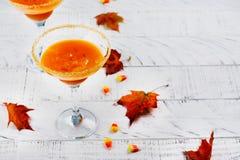 秋天南瓜在白色背景的马蒂尼鸡尾酒鸡尾酒 免版税图库摄影