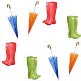 秋天印刷品 伞,这里胶靴它的属性 无缝的模式 图库摄影