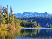 秋天反射,声势浩大的湖 库存图片