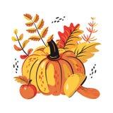 秋天叶子、蘑菇、苹果和南瓜集合 库存例证