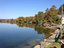 秋天叶子反射在佛蒙特 免版税库存照片