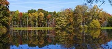 秋天叶子反映在湖全景 免版税图库摄影