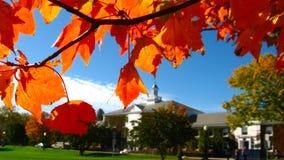 秋天叶子在新英格兰秋天的构筑老大厦 免版税库存图片