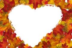 秋天叶子心脏背景 库存图片