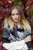 秋天叶子的美丽的女孩通过在一个晴朗的下午的城市街道走在外套和一件温暖的夹克 图库摄影