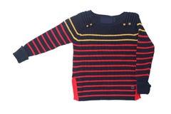 秋天和冬天儿童衣裳 一场红色黑镶边舒适战争 免版税图库摄影