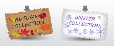 秋天和冬天汇集标签eps10 库存图片