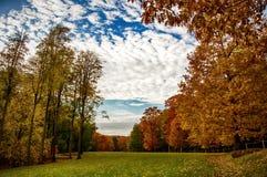 秋天和蓝天在乡下 库存图片
