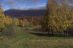 秋天喀尔巴阡山脉的山 图库摄影