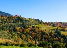 秋天喀尔巴阡山脉的横向山 免版税图库摄影