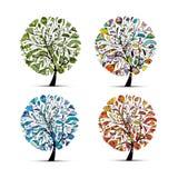 秋天四个季节春天夏天冬天 您艺术美丽的设计的结构树 免版税图库摄影