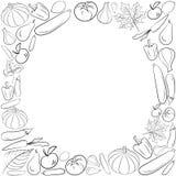 秋天图形卡用水果和蔬菜在黑白颜色 传染媒介感恩天设计 彩图页desig 库存例证