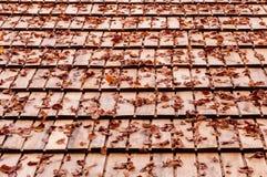 秋天在一个木屋顶的下落的叶子 免版税库存照片