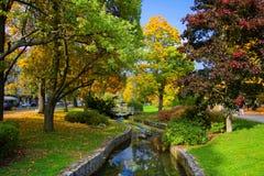 秋天在中央温泉公园-小西部漂泊温泉渡假胜地Marianske Lazne Marienbad -捷克 库存照片