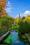 秋天在中央温泉公园-小西部漂泊温泉渡假胜地Marianske Lazne Marienbad -捷克 库存图片