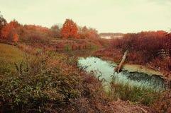 秋天在多云天气的水风景 图库摄影