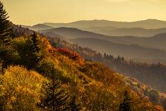 秋天在大烟雾弥漫的山脉国家公园 图库摄影