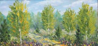 秋天在森林沼地,桦树,云彩 库存照片