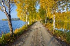 秋天在湖之间的乡下公路 库存照片