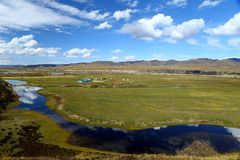 秋天在甘南藏族自治州 库存照片