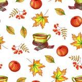 秋天在白色背景的手图画 皇族释放例证
